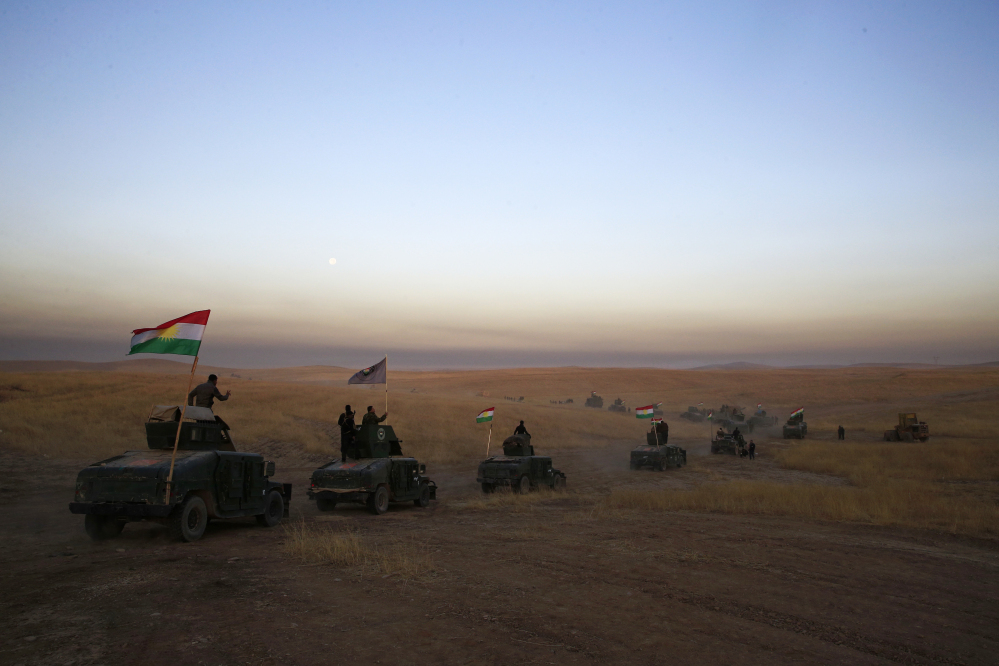 The Iraqi military and the country's Kurdish forces say they launched operations to the south and east of militant-held Mosul early Monday morning.