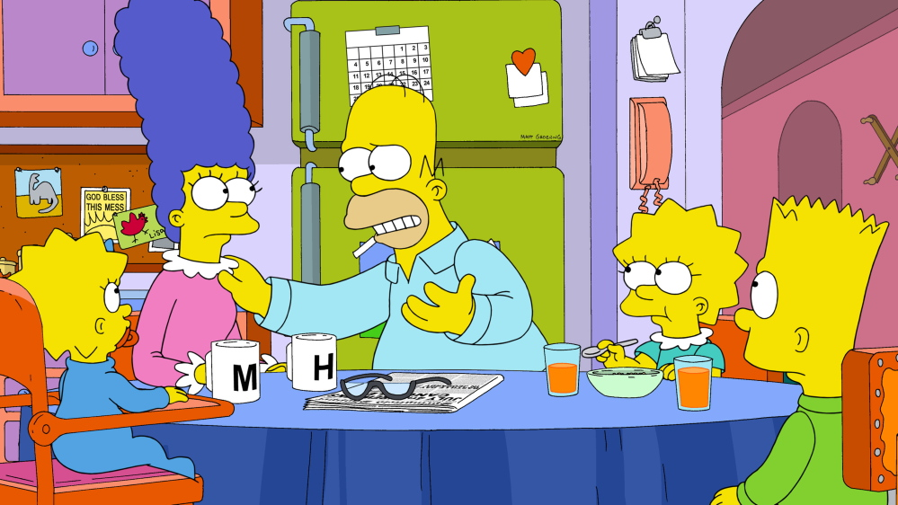 """Homer, Marge and family of """"The Simpsons"""" are closing in on the record for the most episodes of an American scripted prime-time TV show."""