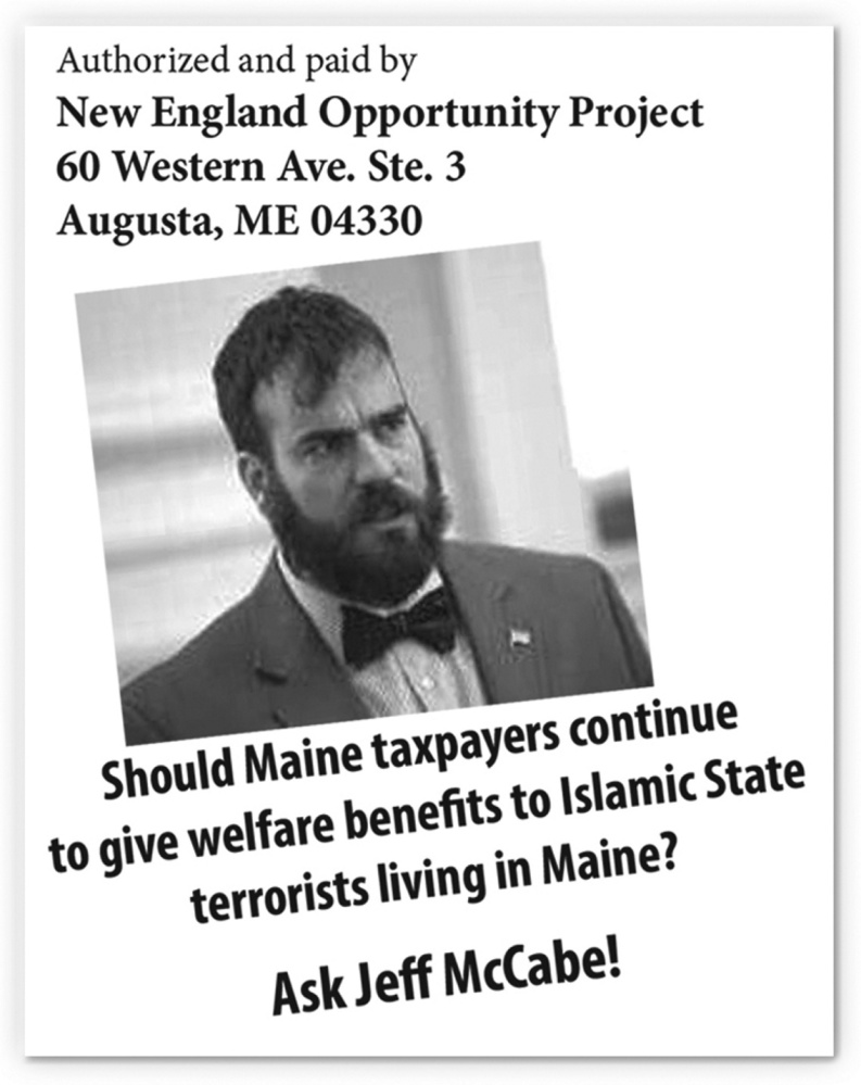 This is an image from a flier targeting Maine House Majority Leader Jeff McCabe that was mailed to voters in the 2nd Congressional District.