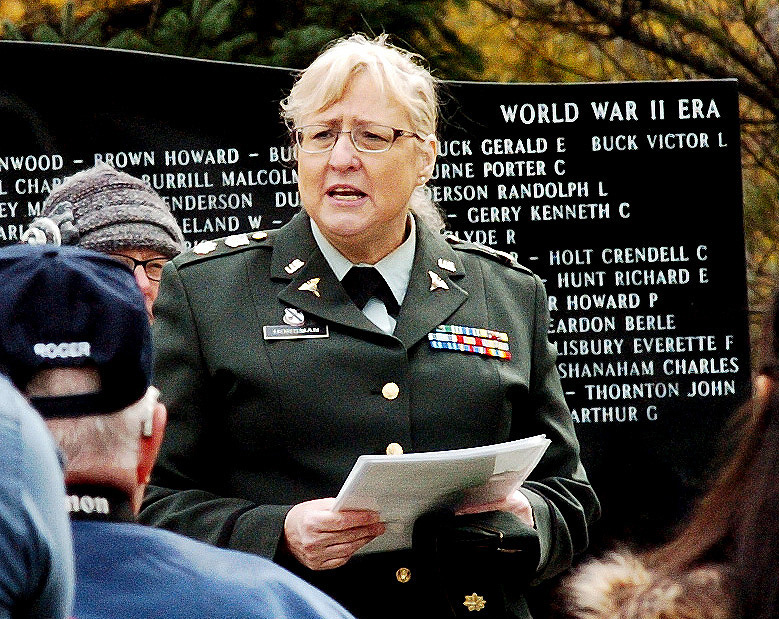 Retired Army Maj. Susan Horsman addresses the crowd.