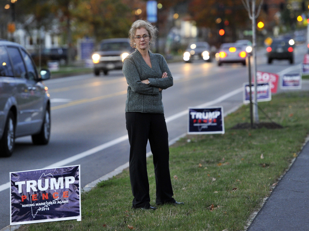 """Betta Stothart has admitted to stealing Donald Trump campaign signs in Falmouth, and has written about her experience for The Washington Post. """"It felt like an affront, and a little disrespectful, to have so many there,"""" she says."""