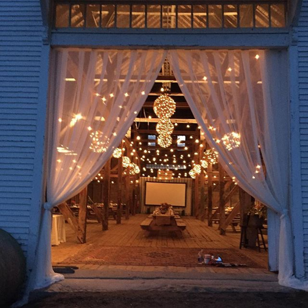 The barn at Wolfe's Neck Farm, decorated for a farm-to-table dinner cooked by Union chef Josh Berry and his staff.