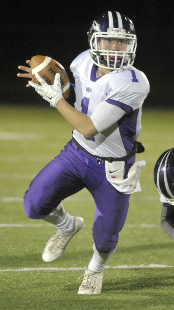 Marshwood quarterback Cole McDaniel will look for more success against Westbrook than he had in the first meeting, when he threw three interceptions.
