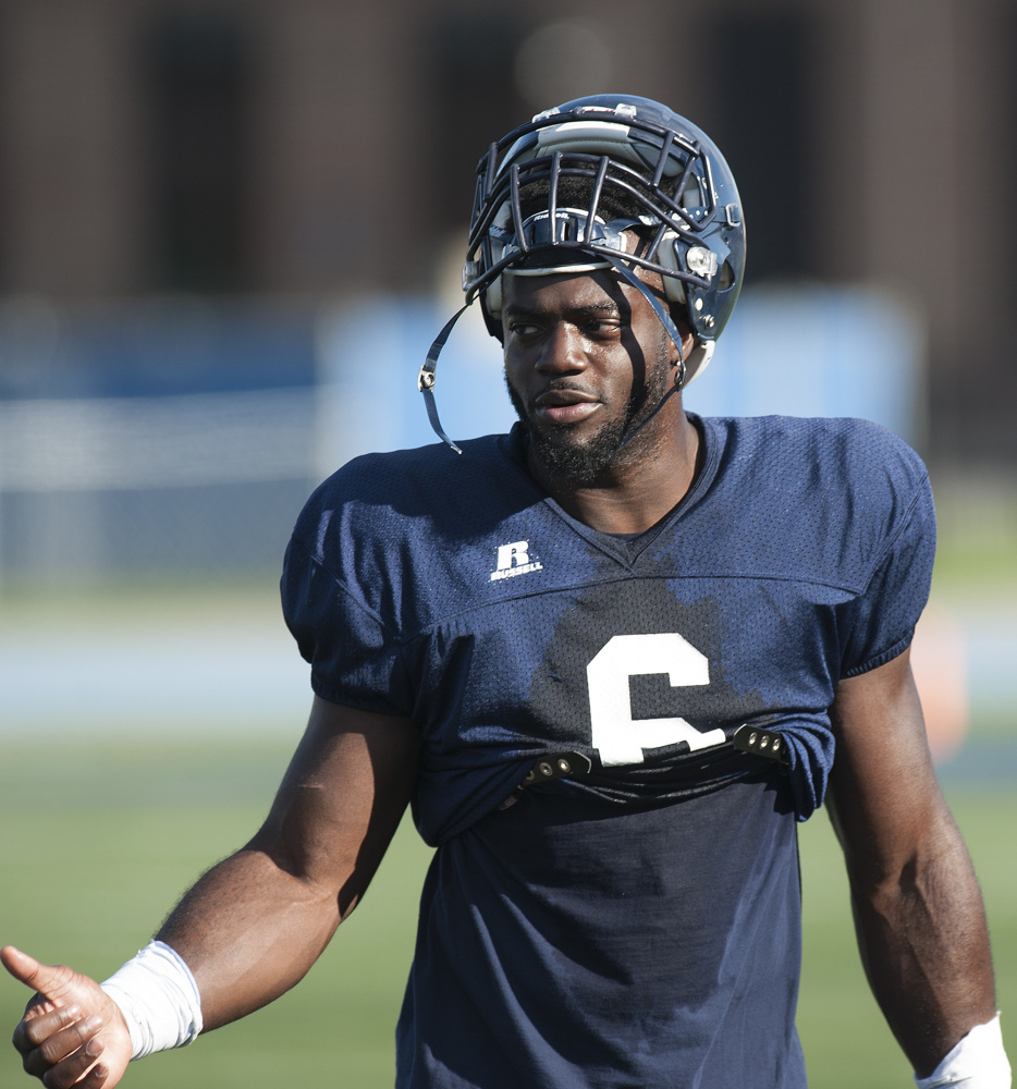 Maine's Christophe Mulumba Tshimanga comes off the field during a team scrimmage at the UMaine campus in Orono on Sunday.
