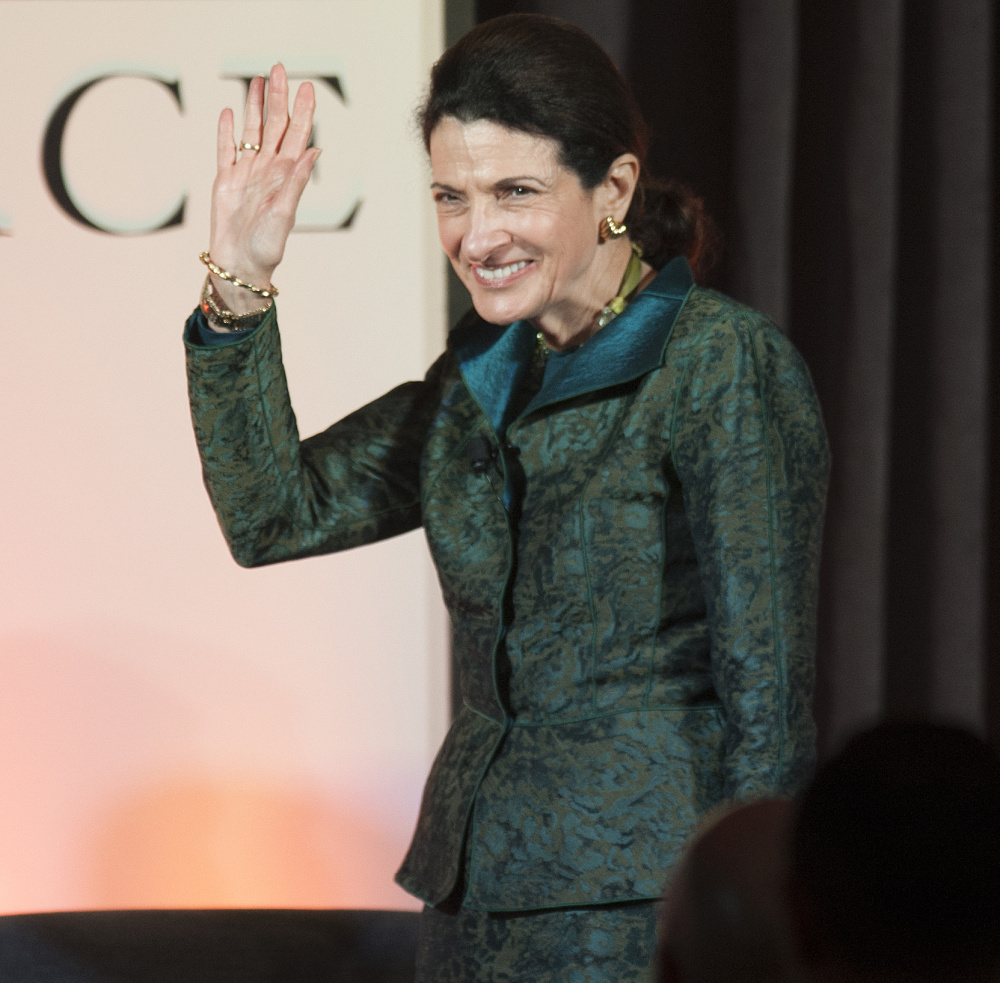 "Former Sen. Olympia Snowe appears at Friday night's forum in Bangor. She said, ""What distinguished us in the past is that we were willing after fierce debates ... to transcend our differences for the greater good of the country and reach a solution."""