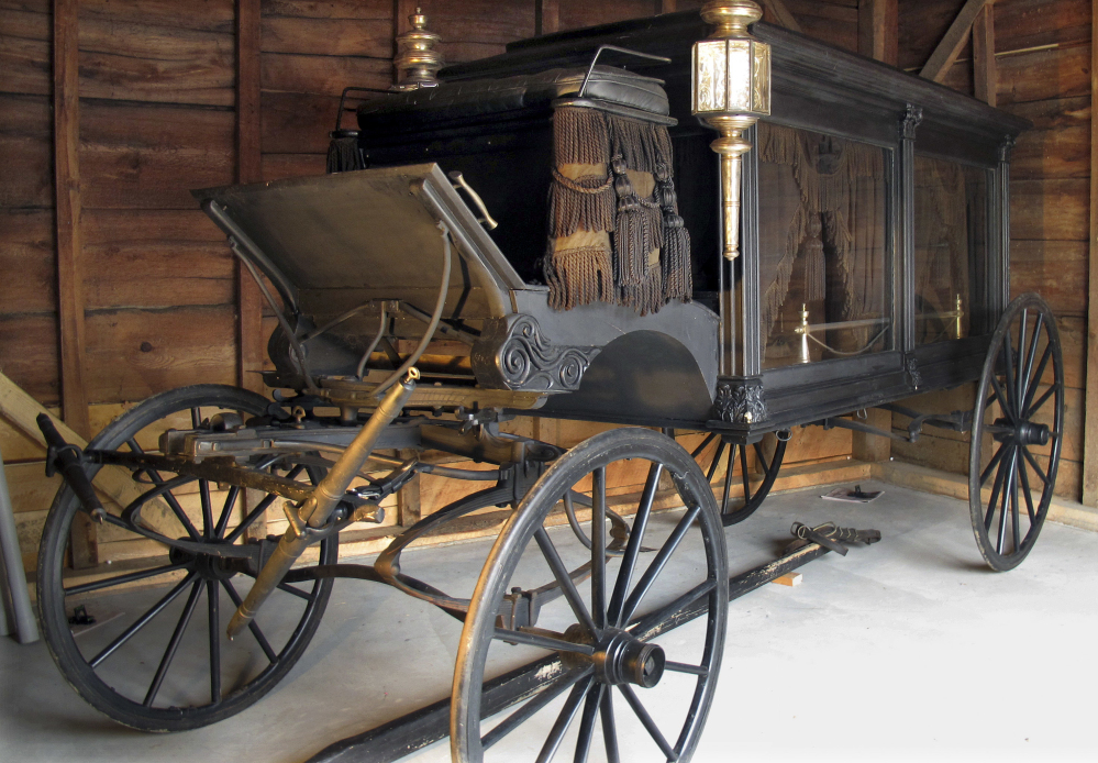 Horse-drawn hearses like the one housed in Chester, Vt., were once ordinary in New England villages, but faded into history as professional funeral directors replaced the part-time undertakers who shared the vehicles.