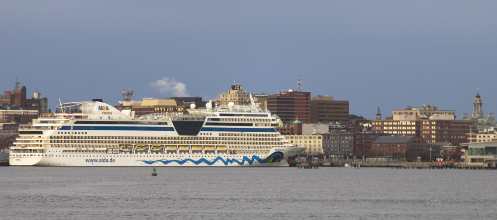 The cruise ship AIDAmar docked in Portland on Saturday morning. For the first season ever, cruise ships brought more than 100,000 passengers to the city.