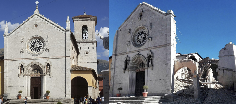 Side-by-side pictures show the 14th-century Basilica of St. Benedict, at left, with its bell tower in the background, in August, and the damage done Sunday, right, by a 6.6 magnitude earthquake that struck in Norcia, close to the epicenter.