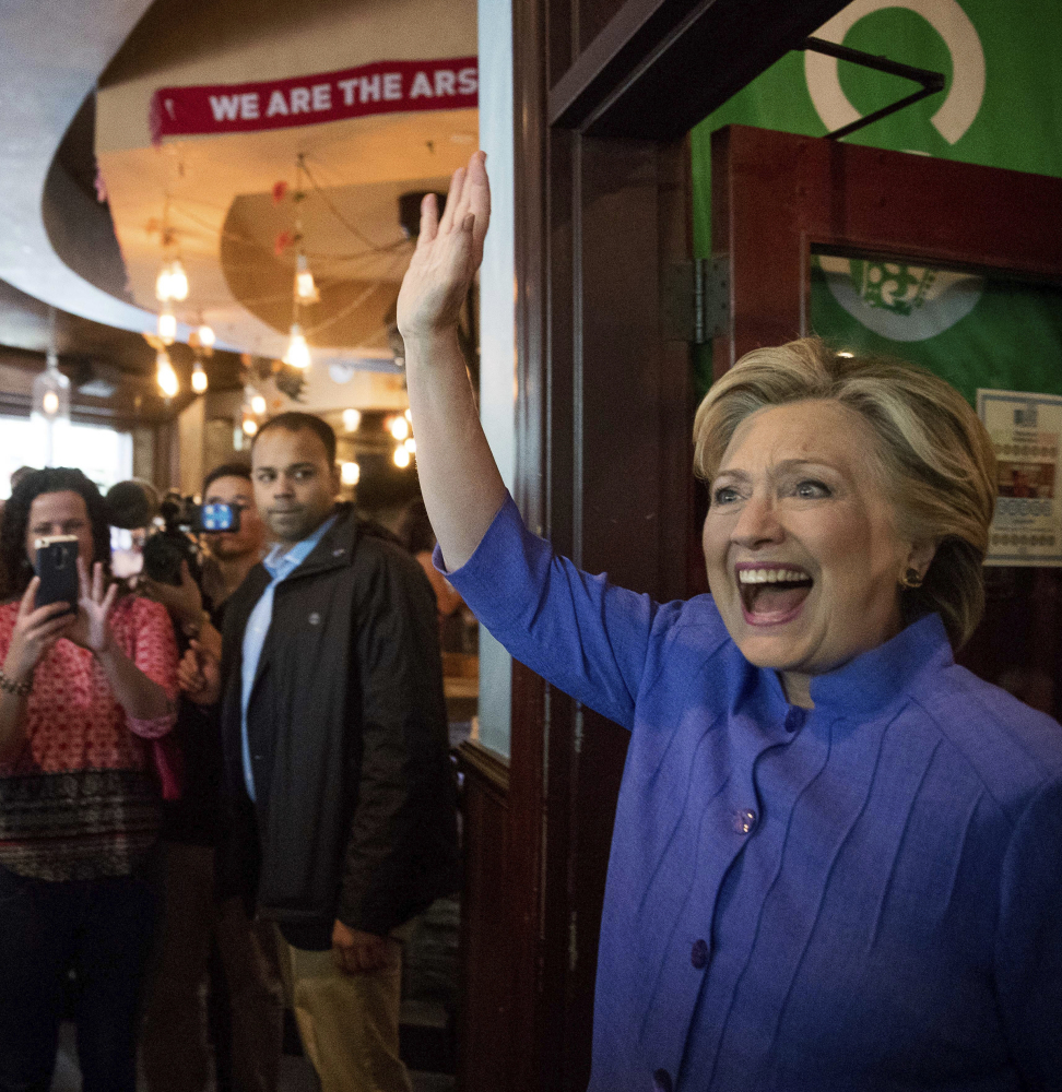 Democratic presidential candidate Hillary Clinton arrives at an early voting brunch Sunday at Fado Irish Pub in Miami.