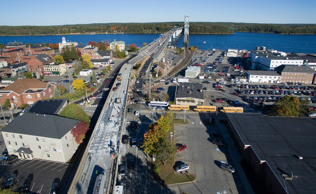 Reconstruction of the Bath viaduct on Route 1 started Tuesday and will continue until at least Memorial Day. Photo by MaineHDTV