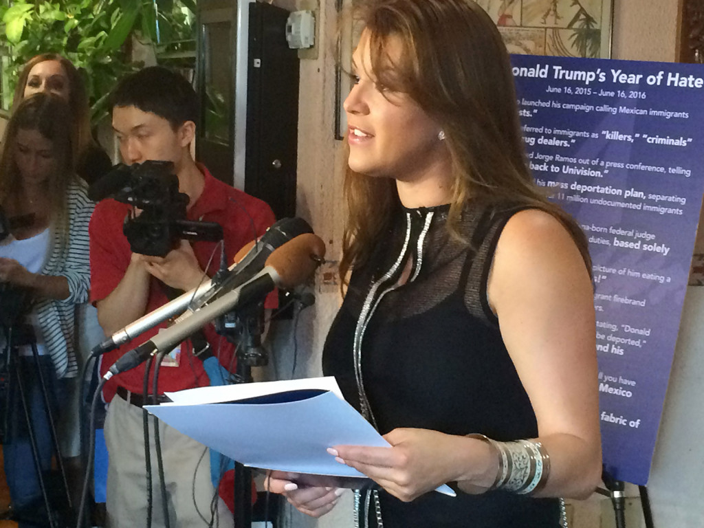 Former Miss Universe Alicia Machado speaks during a news conference at a Latino restaurant in Arlington, Va., in June to criticize Republican presidential candidate Donald Trump. Machado became a topic of conversation during the first presidential debate between Trump and Democratic candidate Hillary Clinton last month.