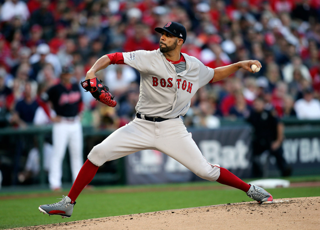 Boston Red Sox pitcher David Price throws against the Cleveland Indians in the first inning during Game 2 of baseball's American League Division Series on Friday in Cleveland.