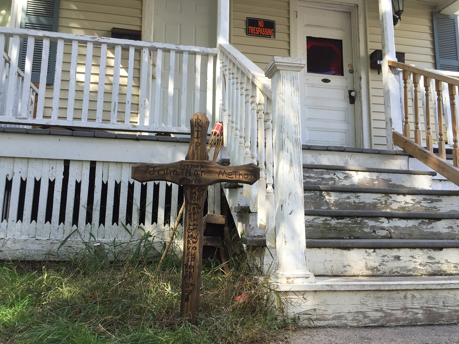 A memorial was erected outside the Biddeford duplex where Jonathan Methot, 30, was shot and killed about 1 a.m. on Sept. 26. Timothy Ortiz, 20, of Brooklyn, N.Y., appeared in court Monday to face a murder charge.