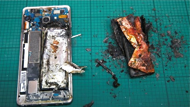 This Samsung Galaxy Note 7 handset caught fire during a lab test in Singapore. <em>Reuters</em>