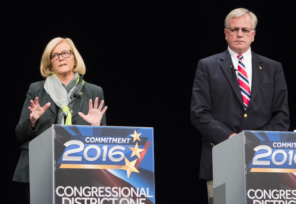 Rep. Chellie Pingree and Republican challenger Mark Holbrook, the candidates for Maine's 1st Congressional District seat, debate Tuesday night at the Westbrook Performing Arts Center.