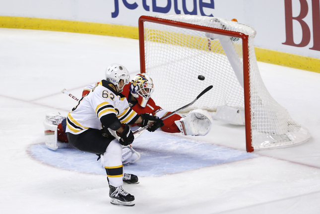 Panthers defenseman Michael Matheson takes a shot on Bruins goalie Tuukka Rask in the first period of Tuesday night's game in Sunrise, Fla. Rask held Florida to a single goal and got the win.