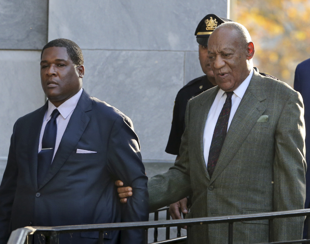 Bill Cosby leaves following a hearing in his sexual assault case at the Montgomery County Courthouse on Wednesday in Norristown, Pa.
