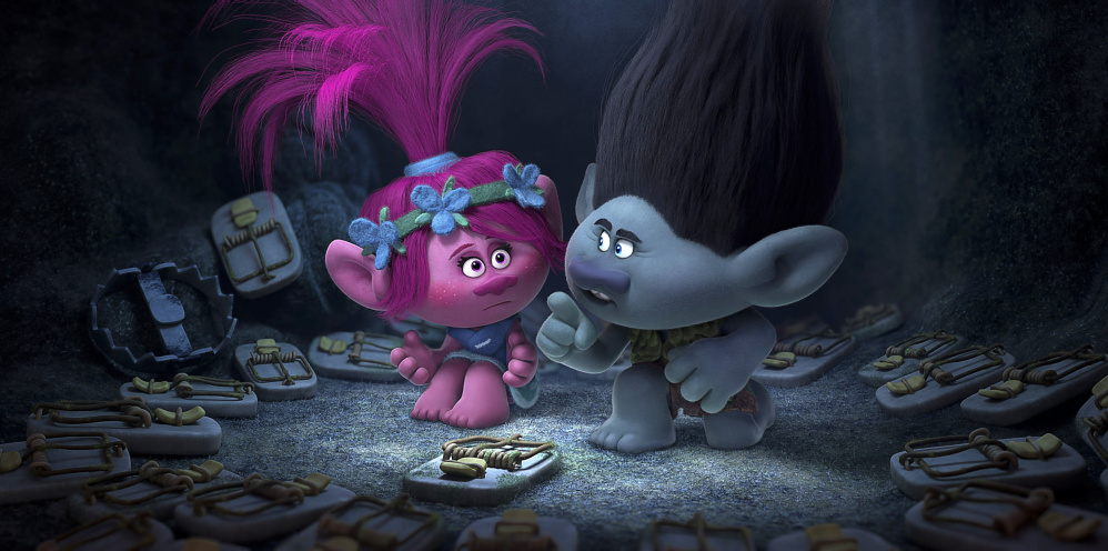 Poppy, voiced by Portland native Anna Kendrick, and Branch, voiced by Justin Timberlake, in a scene from