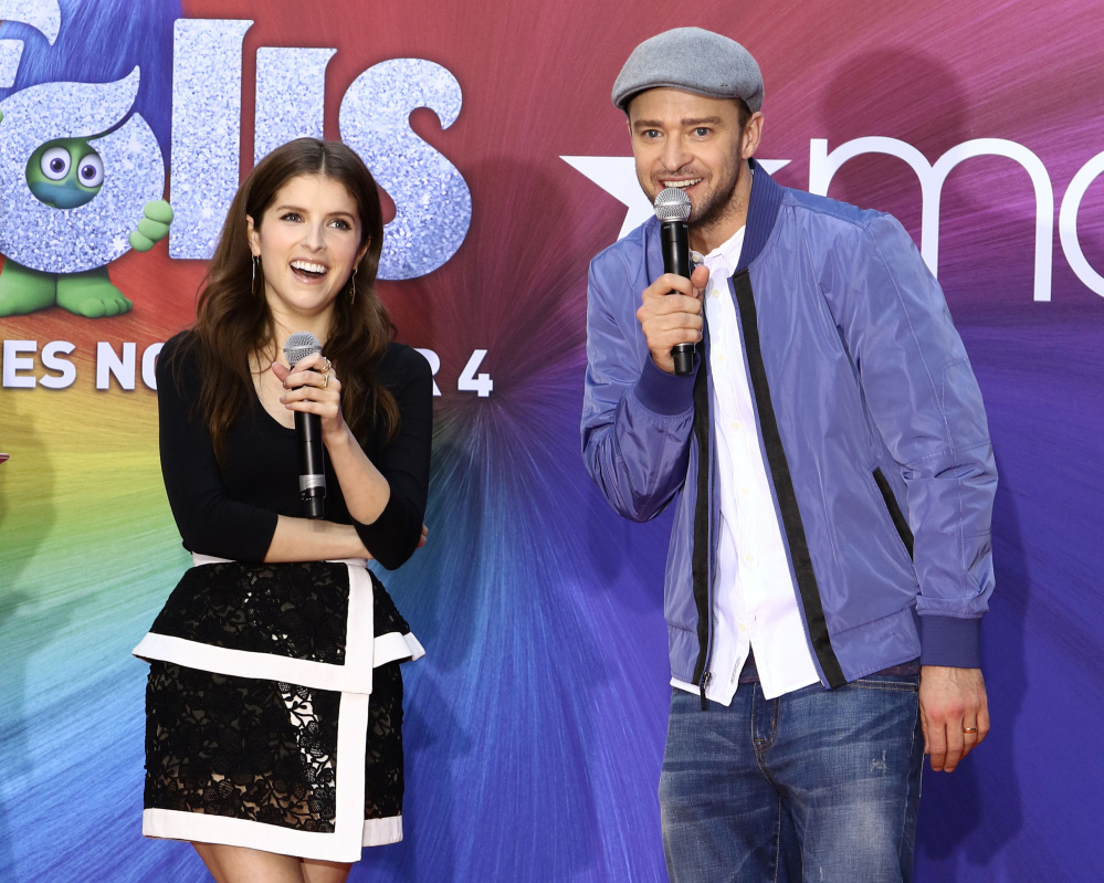Anna Kendrick and Justin Timberlake appear at a press event for their new film