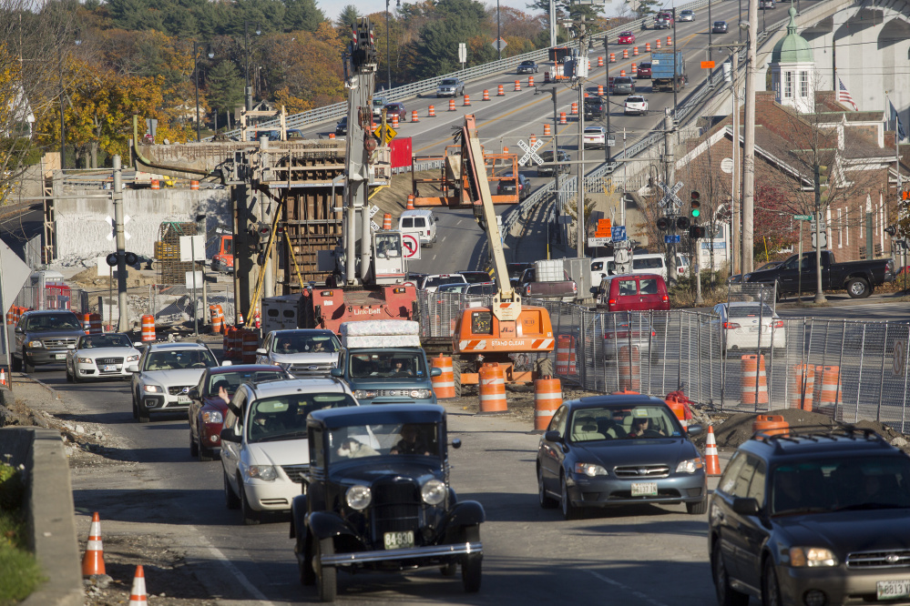 Traffic heads south on Route 1 in Bath, where demolition of the city's viaduct was done in November. Construction of the new roadway is ahead of schedule. Brianna Soukup/Staff Photographer