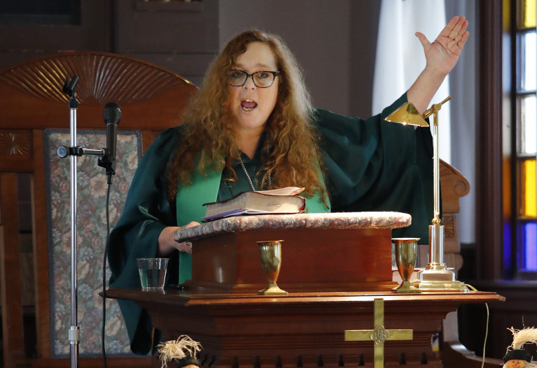 The Rev. Dr. Cathy Genthner has been trying to ease political tensions during her at services at the North Congregational Church in Buxton.
