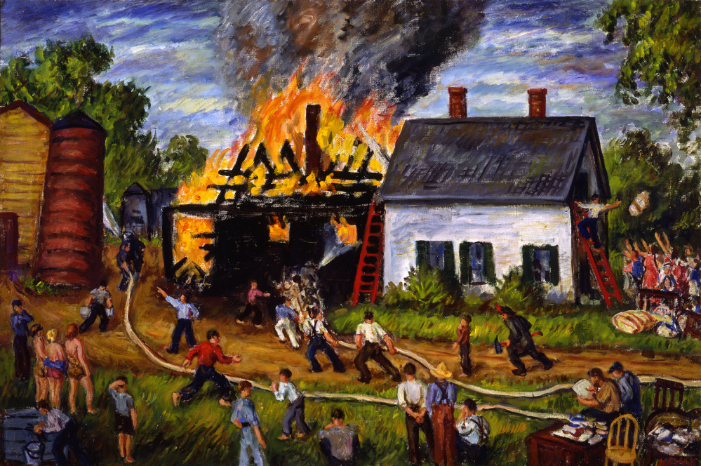 "Waldo Peirce, ""The Fire at East Orrington,"" from ""Art of Disaster"" at the Farnsworth."