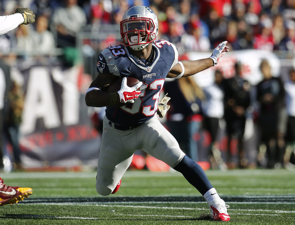 New England Patriots running back Dion Lewis was activated from the PUP list on Saturday and could be available for Sunday night's game against the Seattle Seahawks.