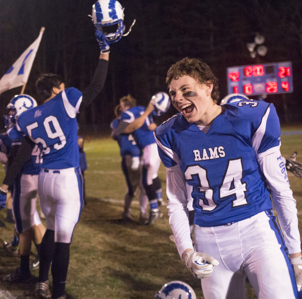 Kennebunk had a peformance worth celebrating in the Class B South regional final, beating Biddeford 42-21. The Rams face North champion Brunswick in the state championship game on Friday.
