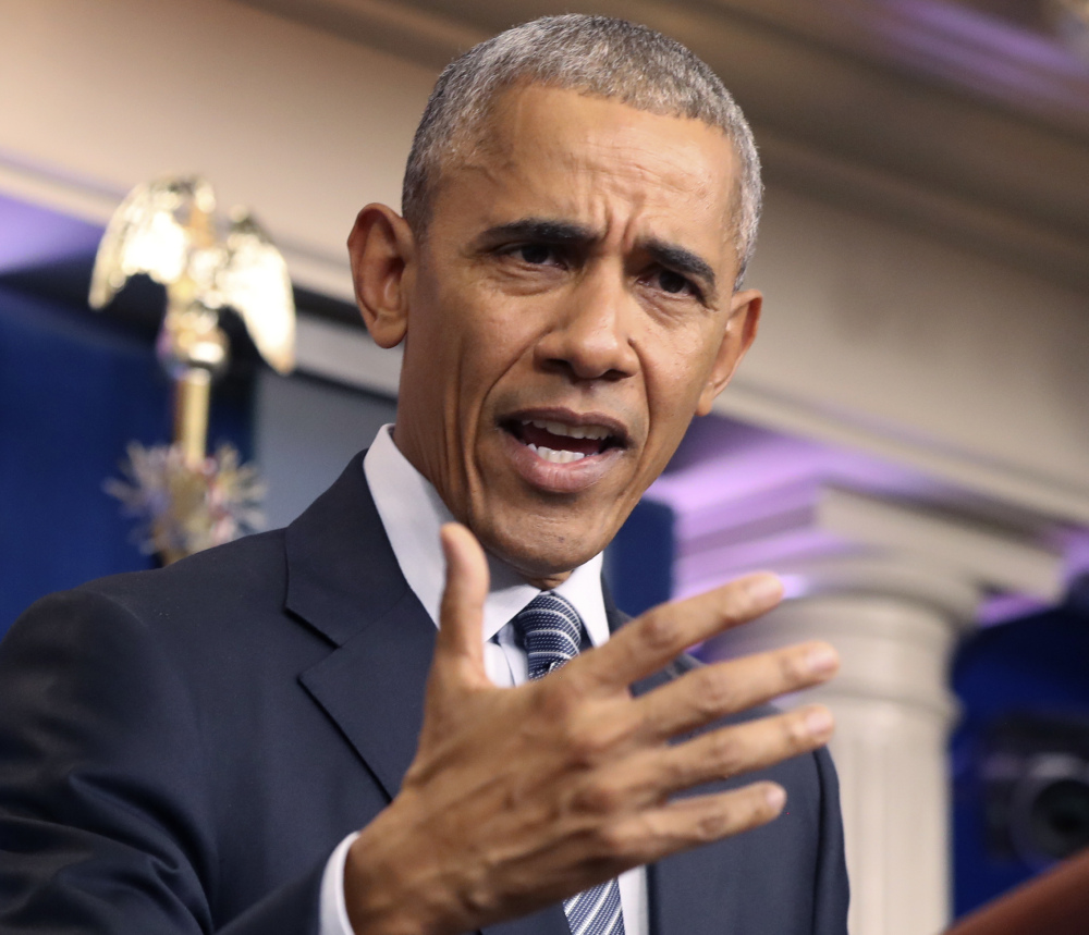 President Obama speaks during a news conference at the White House in Washington on Monday.