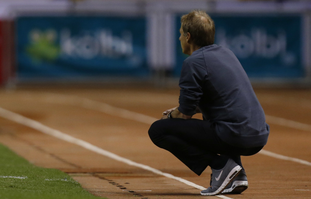United States Coach Jurgen Klinsmann watches Tuesday night during a 4-0 loss at Costa Rica in World Cup qualifying. The U.S. also lost last week to Mexico and may face an uphill path to reach the 2018 World Cup in Russia.
