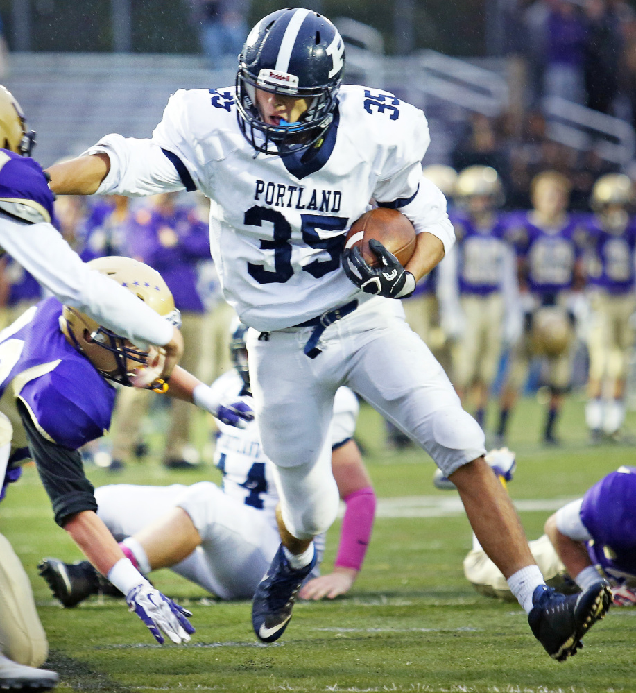 Dylan Bolduc has rushed for 1,224 yards and 14 touchdowns to help Portland reach the Class A state final. Bolduc is also a factor for the Bulldogs as a middle linebacker.