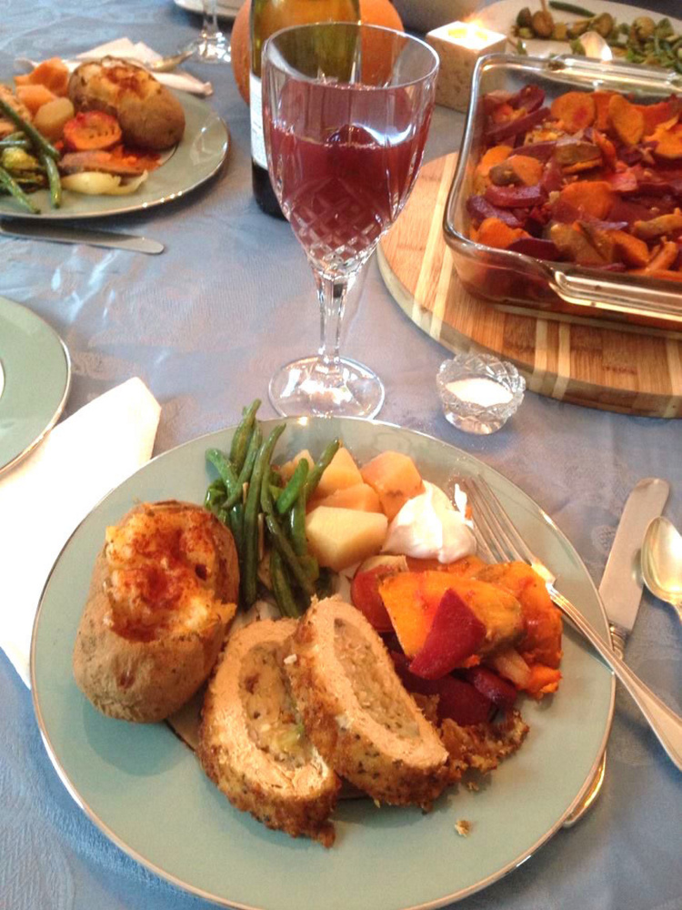 At last year's Thanksgiving, Betsy Harding of South Portland served a vegan roast, twice-baked potatoes, green beans, roasted vegetables and stuffing.