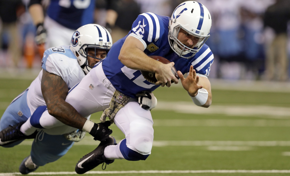 Pittsburgh was preparing to face the Colts' Andrew Luck, right, in Thursday night's game in Indianapolis, but the star quarterback was ruled out Wednesday because of a head injury.