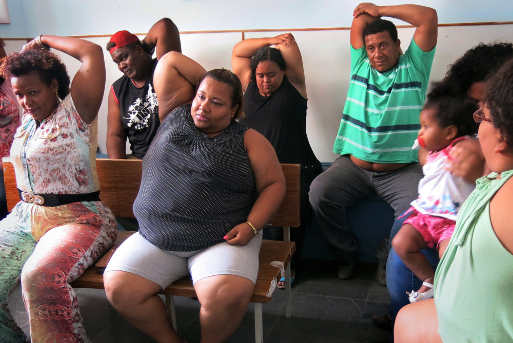 Brazilians take part in an exercise class for obese people at a nonprofit anti-obesity group on Nov. 17.