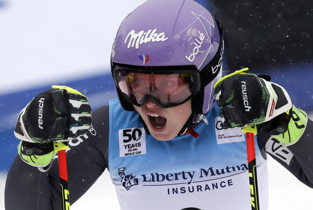 Tessa Worley of France reacts after winning the women's FIS Alpine Skiing World Cup giant slalom race, Saturday in Killington, Vermont. (Associated Press/Mike Groll)