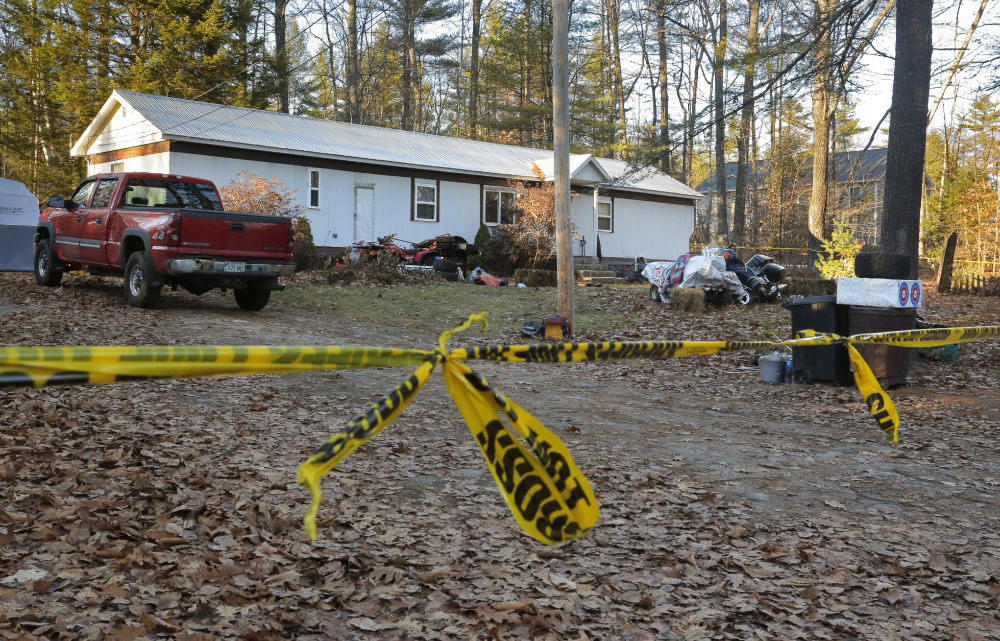 Sheriff's tape cordons off the house at 73 Songo School Road in Naples on Monday, November 28, 2016. Police say Richard Diekema was shot and killed early the previous morning by Norman Strobel inside the two-bedroom mobile home.