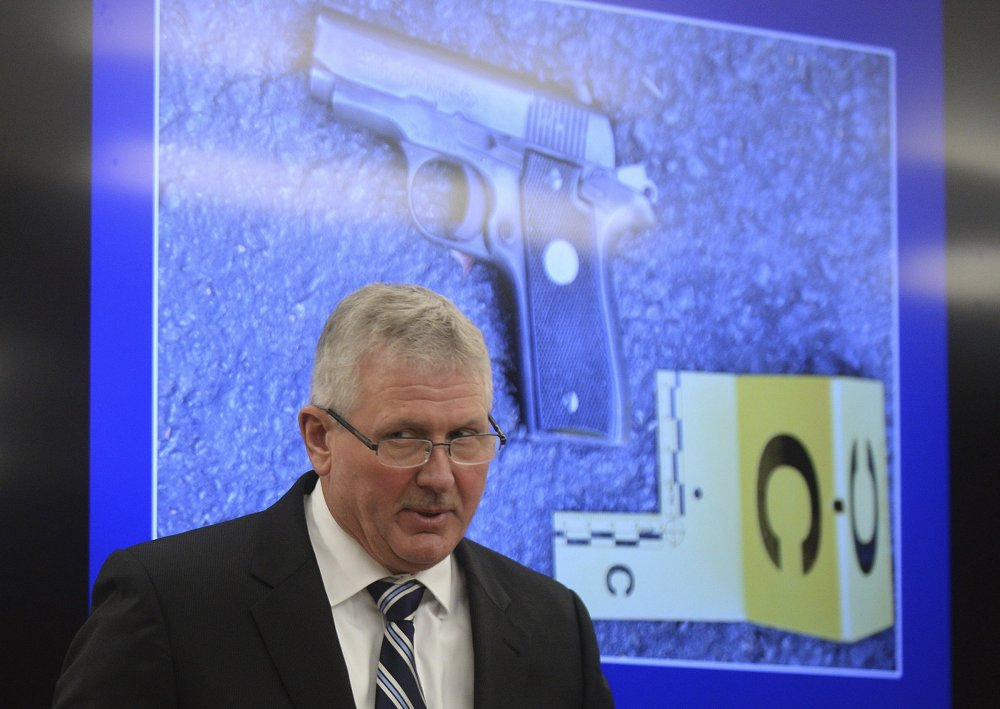 District Attorney Andrew Murray shows reporters a presentation Wednesday to support his conclusion that the police shooting of Keith Lamont Scott in Charlotte, N.C., on Sept. 20 was justified.