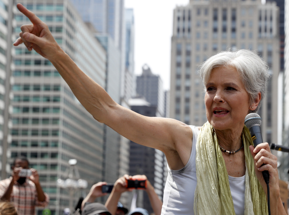 Green Party presidential nominee Jill Stein, speaking at a rally in Philadelphia in July, on Wednesday requested a full hand recount of Michigan's vote, which Republican Donald Trump won by 10,700 votes over Democrat Hillary Clinton.