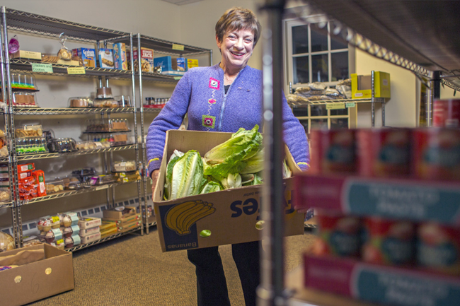 Dorothy Blanchette, president of the Falmouth Food Pantry, says her work at the pantry is more than just a way to distribute food – it helps her connect to people who are struggling.
