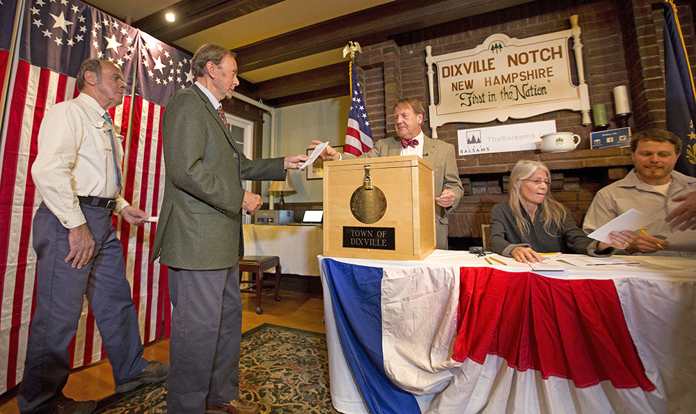 Voters in Dixville Notch, Va., cast their ballots just after midnight Tuesday  in Dixville Notch, N.H.