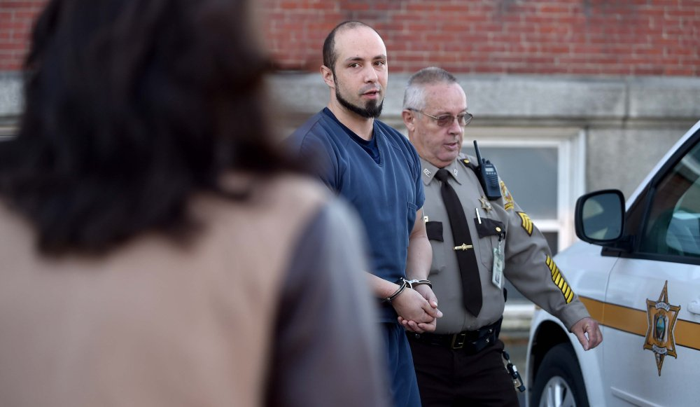 Luc Tieman leaves Somerset County Superior Court in Skowhegan on Friday after entering a not guilty plea in the death of his wife.