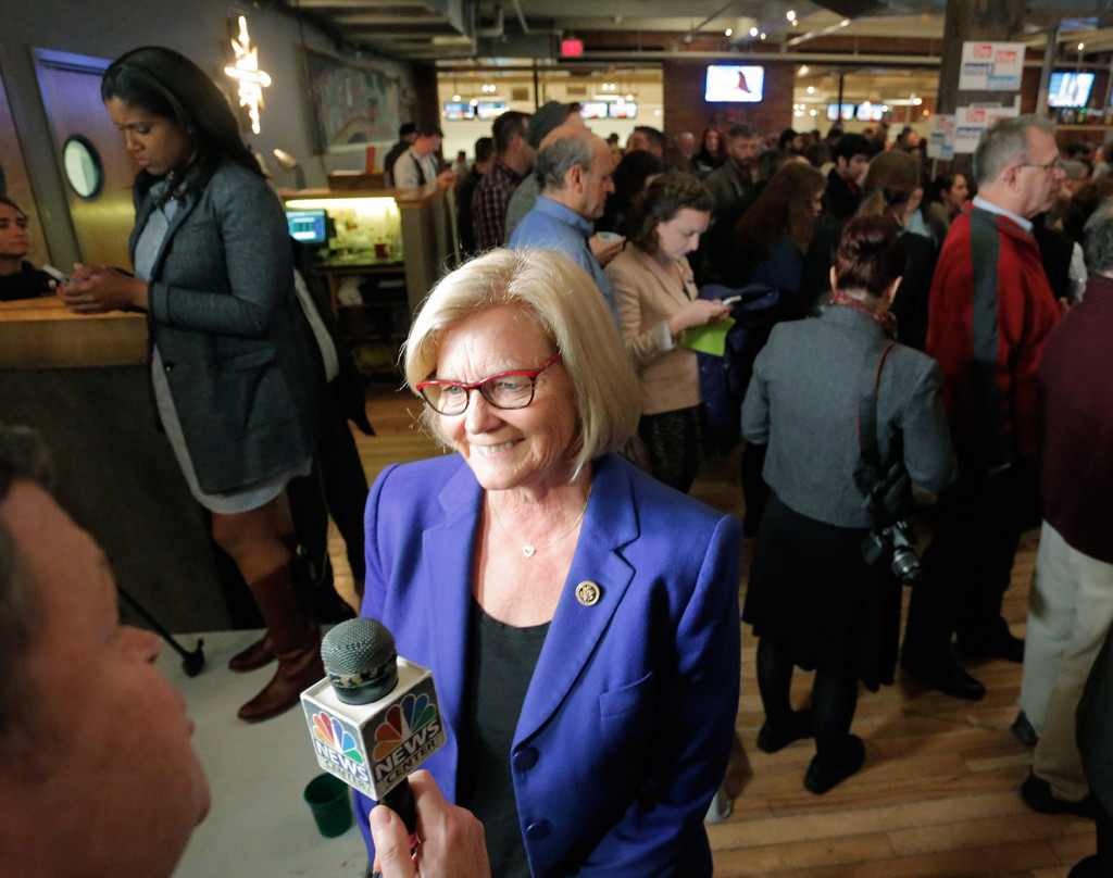 U.S. Rep. Chellie Pingree talks with WCSH reporter Chris Rose after arriving Tuesday night at Bayside Bowl in Portland, the gathering spot for Hillary Clinton and Pingree supporters. Pingree was on her way to re-election with a comfortable win over Republican Mark Holbrook. Gregory Rec/Staff Photographer