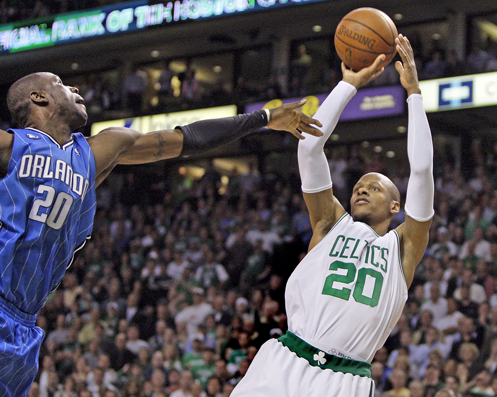 Boston Celtics Ray Allen  goes up for a jump shot against Orlando Magic's Mickael Pietrus in the fourth quarter of Game 5 of the NBA basketball Eastern Conference semifinal playoff series in Boston on May 12, 2009. The Celtics came from behind to win 92-88. <em>Associated Press/Elise Amendola)</em>