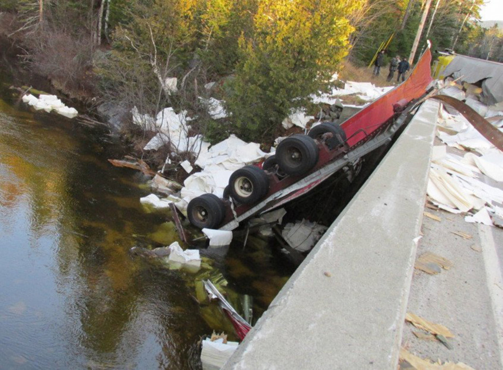 The driver suffered minor injuries when this tractor-trailer crashed in Coburn-Gore on Thursday morning.