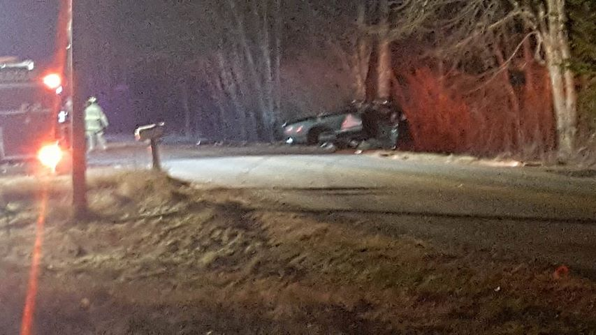 Police say Nicholas Oram missed a turn and crashed into several trees. He wasn't wearing a seat belt. <em>Photo from Nicole Braley via WCSH</em>