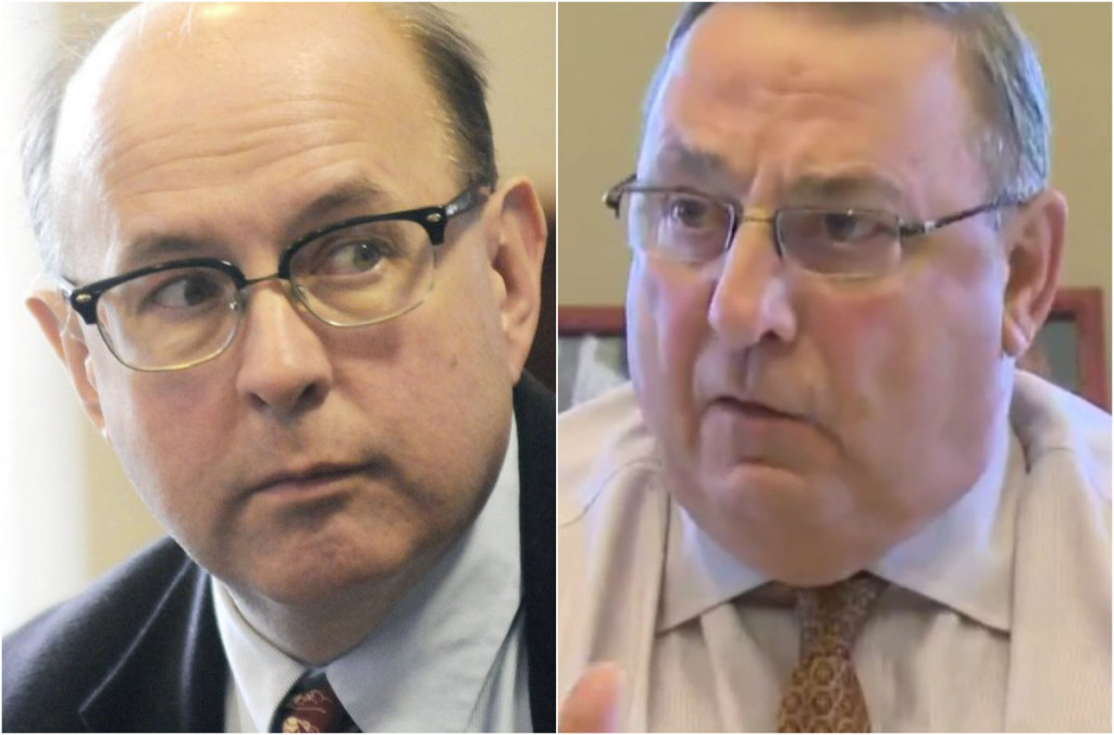 Secretary of State Matthew Dunlap, left, and Gov. Paul LePage