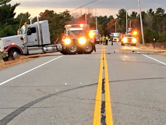 Samuel Horn, who was driving a tractor-trailer died when the truck crashed on Killick Pond Road in Hollis on Friday morning.