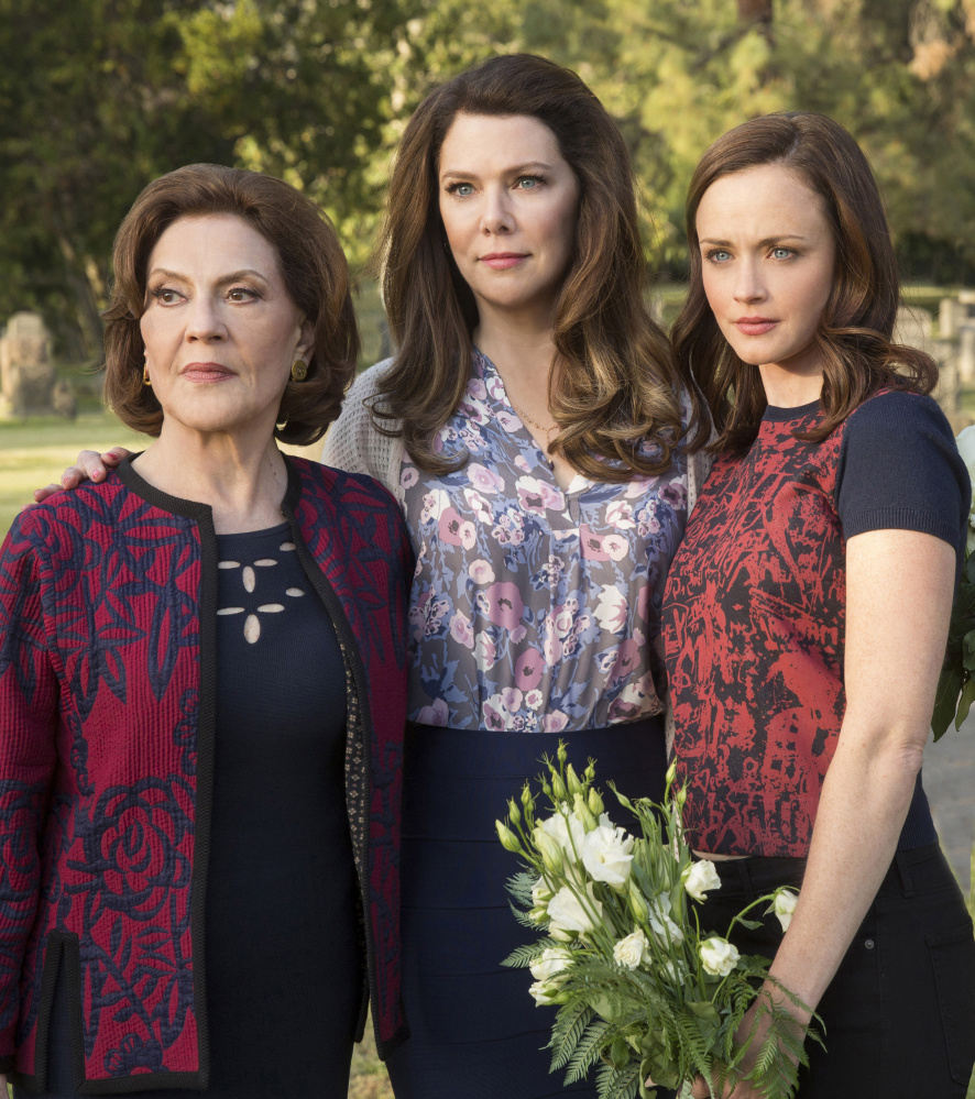 """Kelly Bishop, left, Lauren Graham and Alexis Bledel reunite for """"Gilmore Girls: A Year in the Life,"""" which is streaming on Netflix."""