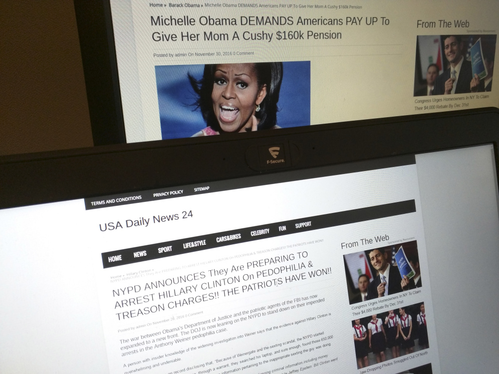 """Stories from USA Daily News 24, a """"fake news"""" site registered in Veles, Macedonia. Citizens reacting to bogus information is not a new problem, but technology has exacerbated the problem."""