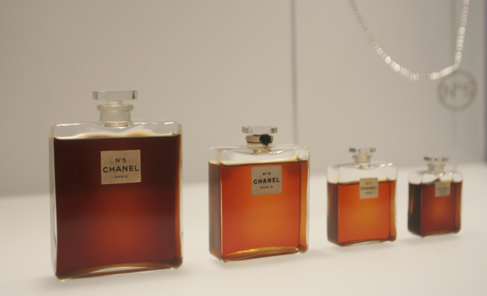 Bottles of Chanel No. 5 perfume are displayed at the Metropolitan Museum of Art's Costume Institute exhibit in New York in 2005. Chanel is making a stink over a possible high-speed train line through jasmine fields in Provence.